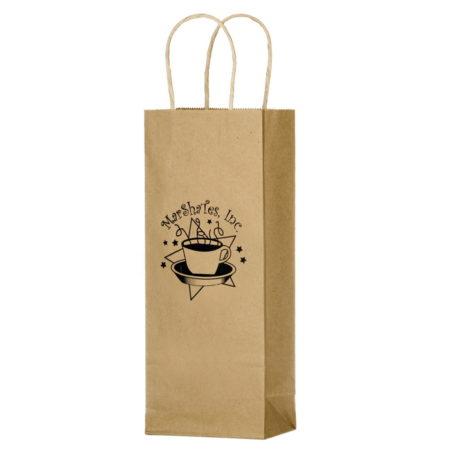"Promotional Custom Logo Natural Kraft Paper Wine Tote 5.75"" x 12.50"""
