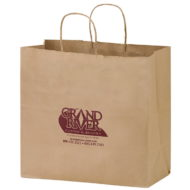 """Promotional Custom Logo Natural Kraft Twisted Paper Take-Out Handle Shopper 13""""x12.75"""""""