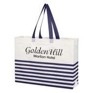 Custom Logo Promotional Non-Woven Horizontal Stripe Tote Bag