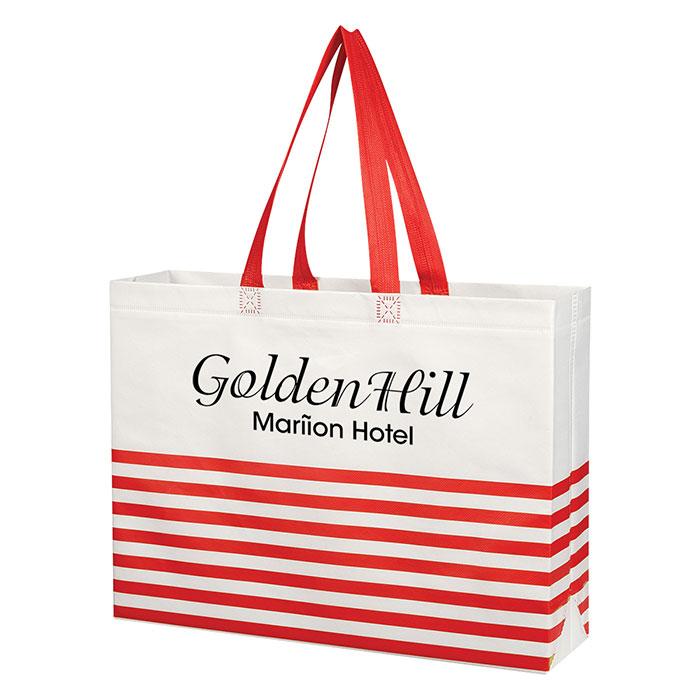 Non-Woven Horizontal Stripe Tote Bag - Progress Promotional Products e8efd5a429202