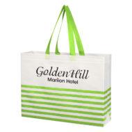 Promotional Custom Logo Non-Woven Horizontal Stripe Tote Bag