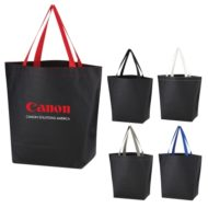 Promotional Logo Printed Non-Woven Leather Look Promotional Tote Bag