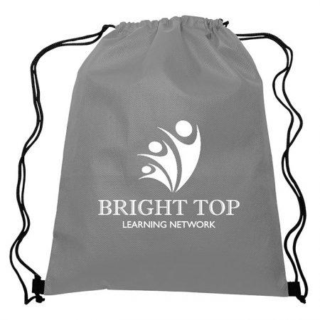 Custom Non-Woven Sports Drawstring Bag - Gray