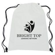 Promotional Non-Woven Sports Drawstring Bag - White
