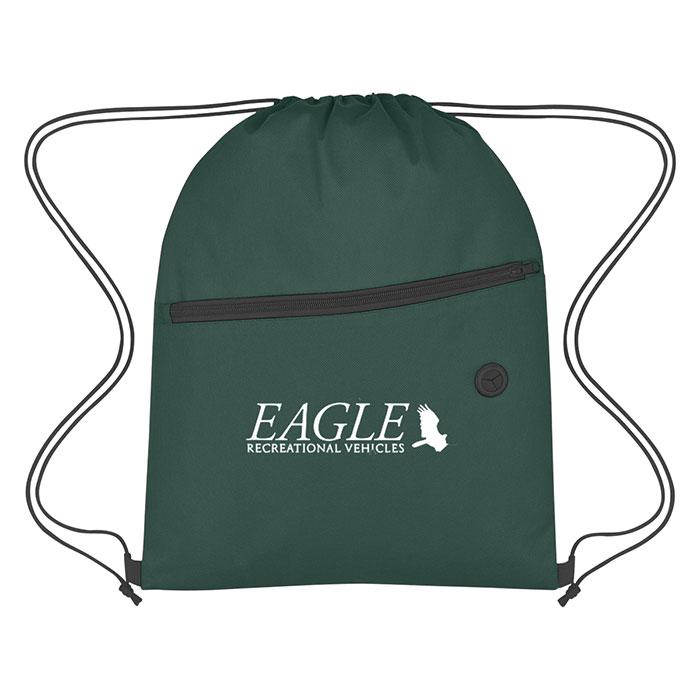 de3d9c15933b Custom Logo Promotional Non-Woven Sports Drawstring Bag with Front Zipper