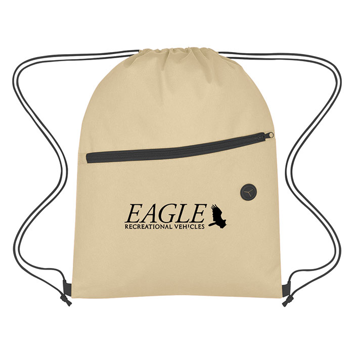 419dc51a8980 Promotional Products - Non-Woven Sports Drawstring Bag with Front Zipper