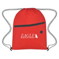 Custom Logo Promotional Non-Woven Sports Drawstring Bag with Front Zipper