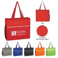 Logo Printed Non-Woven Wave Design Promotional Tote Bag