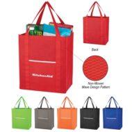 Logo Printed Promotional Non-Woven Wave Design Shopper Tote Bag