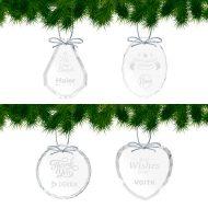Custom Optical Crystal Holiday Ornaments - Group