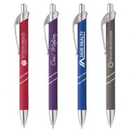 Promotional Ovalesque Metal Softy Click Pen Laser Engraving
