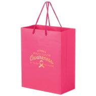 Promotional Custom Logo Pink Awareness Matte Laminated Euro Tote Bag 8x10