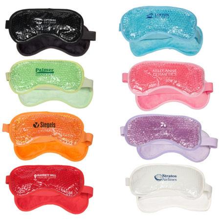 Promotional Custom Logo Plush Eye Mask Hot/Cold Pack Aqua Pearls