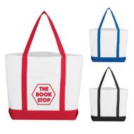 Logo Printed Pocket Shopper Tote Bag