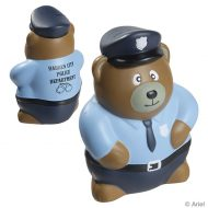 Custom Police Bear Stress Reliever Ball with Logo Imprint