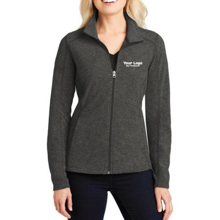 Custom Logo Embroidery Port Authority Ladies Heather Microfleece Full-Zip Ladies Jacket