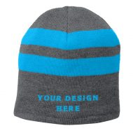 Custom Embroidery Port & Company Fleece Lined Striped Beanie Hat