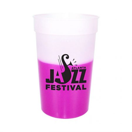 Custom Logo Reusable Mood Color Changing Stadium Cup- Frosted/Pink