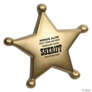 Custom Sheriff's Badge Star Stress Ball Key Chain with Logo