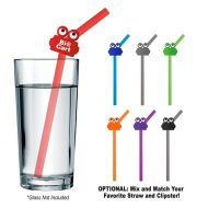Promotional Custom Logo Silicone Straw With Clipster