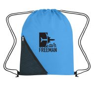 Custom Logo Promotional Sports Drawstring Bag with Outside Mesh Pocket