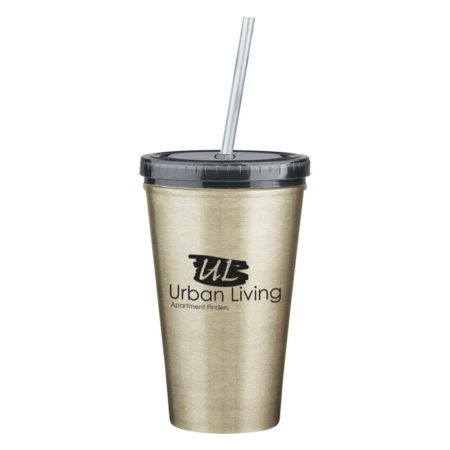 Promotional Custom Logo Stainless Steel Double Wall Tumbler With Straw 16oz