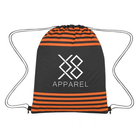 Custom Logo Promotional Striped Drawstring Bag