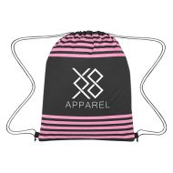 Custom Logo Promotional Striped Drawstring Bag