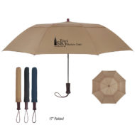 Logo Printed Promotional Telescopic Automatic Open Umbrella with Wood Handle