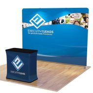 Custom Tension Fabric Trade Show Display Backdrop an Podium 10 feet