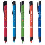 Promotional Custom Logo Tres-Chic Softy Black Trim Stylus Pen - Full Color Imprint