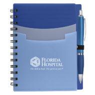 Tri-Pocket Notebook with Pen-Blue Custom Logo