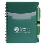 Tri-Pocket Notebook with Pen-Green Custom Logo