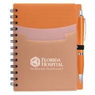Tri-Pocket Notebook with Pen-Orange Custom Logo