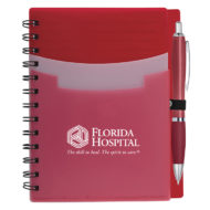 Tri-Pocket Notebook with Pen-Red Custom Logo