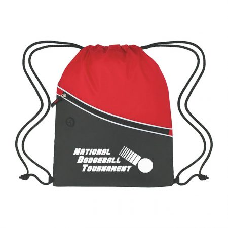 Custom Logo Promotional Two-Tone Sports Drawstring Bag