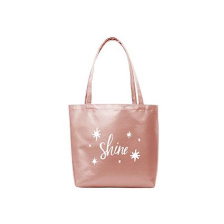 Custom Logo Vegan Leather Birdie Tote Bag Rose Gold
