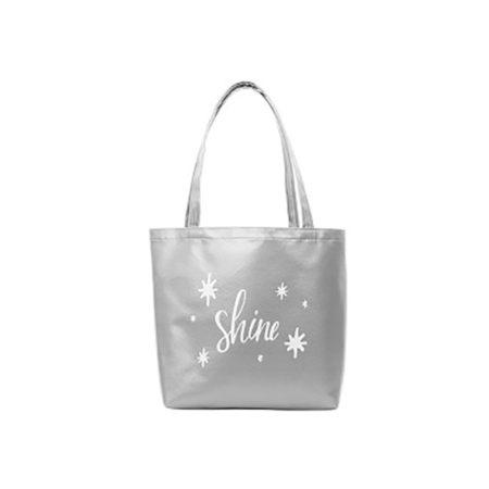 Custom Logo Vegan Leather Birdie Tote Bag Silver