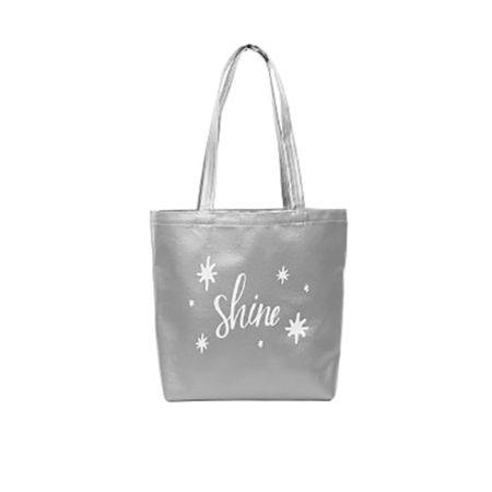 Custom logo Vegan Leather Daily Grind Tote Bag Silver