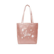 Custom logo Vegan Leather Daily Grind Tote Bag rose gold
