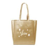 Custom logoVegan Leather Grocery Tote Bag-Gold