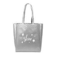 Custom logo Vegan Leather Grocery Tote Bag Silver