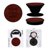 Custom Logo Vegan Leather PopSockets Grip Mount Combo