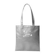 Custom logo Vegan Leather Supersize Main Squeeze Tote Bag silver