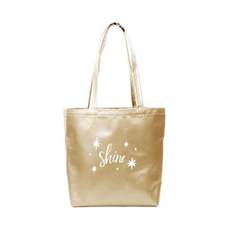 Custom logo Vegan Leather Supersize Tote Bag gold