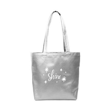 Custom logo Vegan Leather Supersize Tote Bag silver