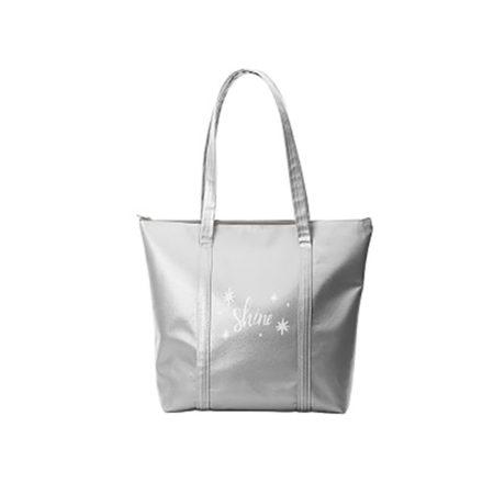 Custom logo Vegan Leather Twinkles Tote Bag silver