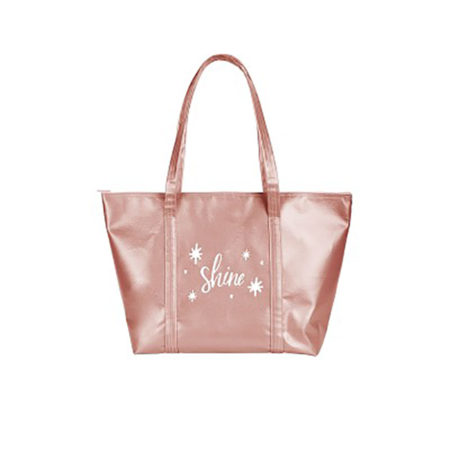 Custom logo Vegan Leather Weekender Tote Bag Rose gold