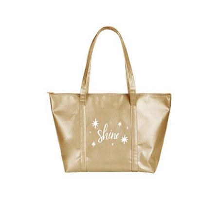 Custom logo Vegan Leather Weekender Tote Bag gold