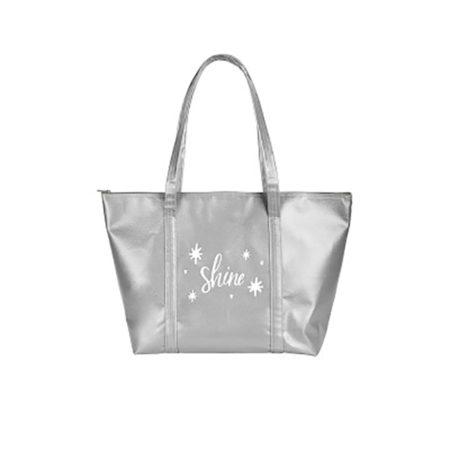 Custom logo Vegan Leather Weekender Tote Bag silver